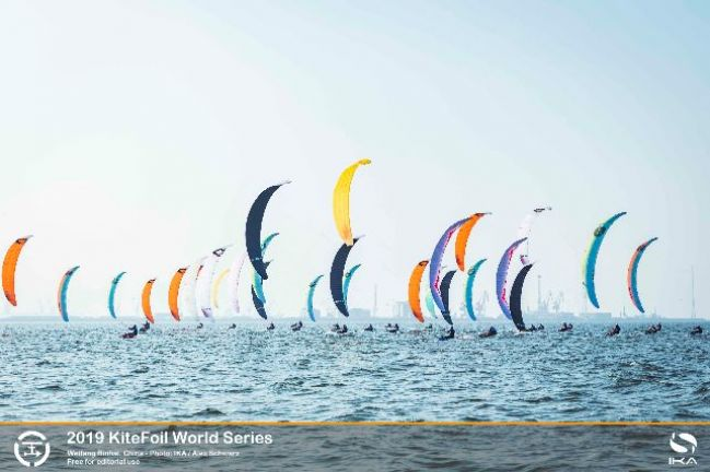 Top kitefoil racers play leaderboard Snakes and Ladders at World Series in China